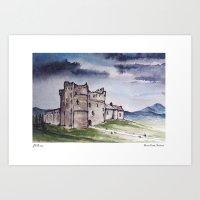 monty python Art Prints featuring Doune Castle, Perthshire, Scotland. Outlander. Monty Python. Version 2 (text title) by JVB 2014