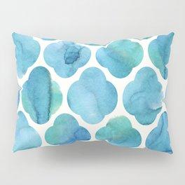 Watercolour Blue Moroccan Tile Print Pillow Sham