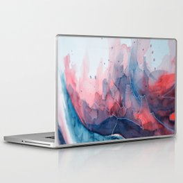 Watercolor shadow red & blue, abstract texture Laptop & iPad Skin