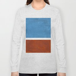 Antique Pastel Blue Brown Mid Century Modern Abstract Minimalist Rothko Color Field Squares Long Sleeve T-shirt