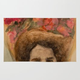 Watercolor Portrait of a Lady in an Easter Bonnet Rug