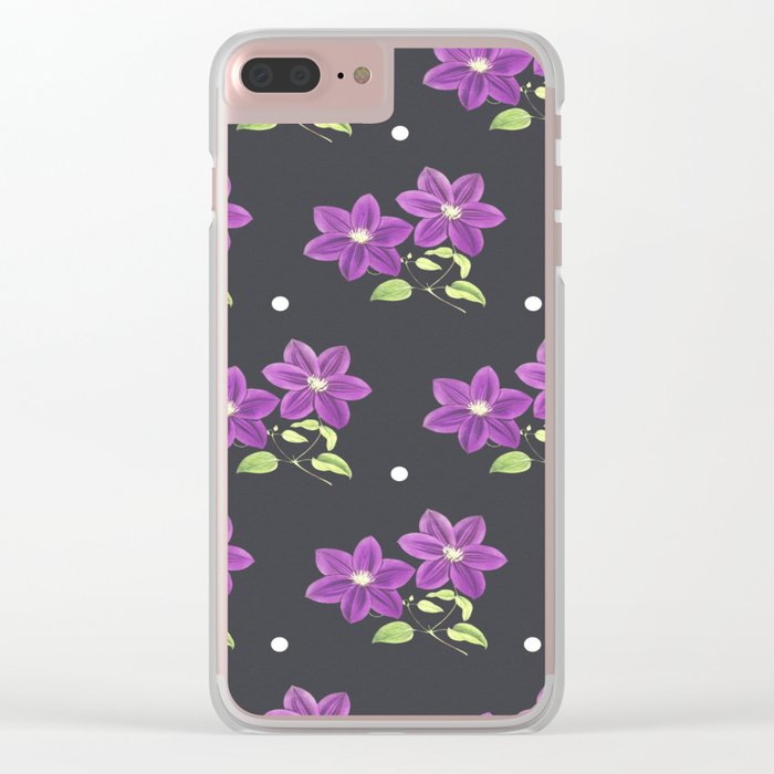 FLOWERS PATTERN Clear iPhone Case