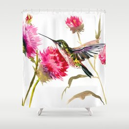 Flying Hummingbird and Pink Flower Shower Curtain