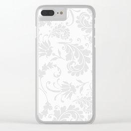 Vintage of white elegant floral damask pattern Clear iPhone Case