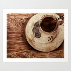 coffee on a cold day Art Print