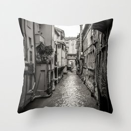 Beautiful view in the medieval center of Bologna Throw Pillow
