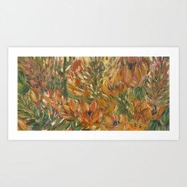 Floral orange print Art Print