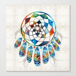 Native American Colorful Dream Catcher by Sharon Cummings Canvas Print