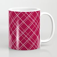 burgundy Mugs featuring Burgundy Pattern by Christina Rollo
