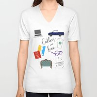 levi V-neck T-shirts featuring Cather and Levi by Book Spectacle
