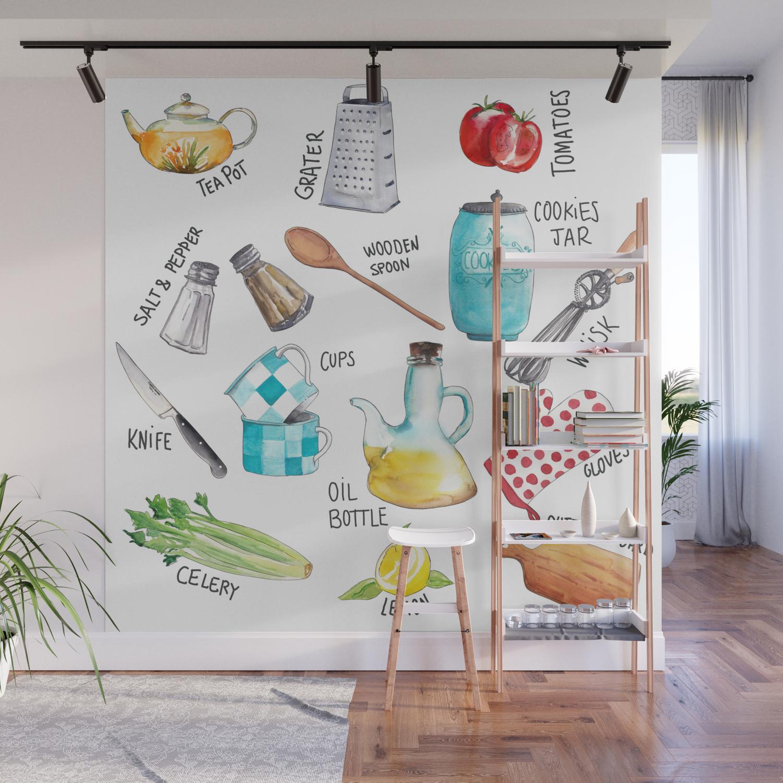 Kitchen Set Illustration Wall Mural By Malachi13 Society6