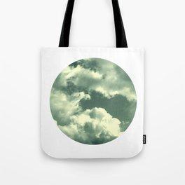Cloudy sky photograph, dreamy white green, spring decor Tote Bag