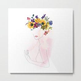Mimimal Line Art Drawing Woman With Watercolor Summer Flowers Wreath Metal Print