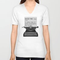 writer V-neck T-shirts featuring Writer Defined by Nicole Austin
