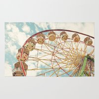 ferris wheel Area & Throw Rugs featuring ferris wheel by Sylvia Cook Photography