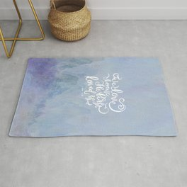 We Love Because He First Loved Us - 1 John 4:19 - Purple Mountains Rug