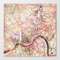 cincinnati Canvas Prints featuring Cincinnati by MapMapMaps.Watercolors