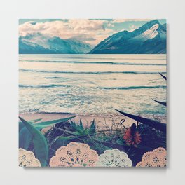 Tropical Island Moutain Collage Metal Print