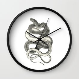 snake vintage style print serpent black and white 1800's Wall Clock