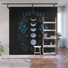 Moonlight Garden - Blue Wall Mural