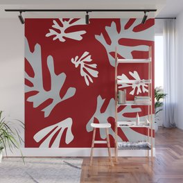 Matisse Silver & Red Holiday Leaves Wall Mural