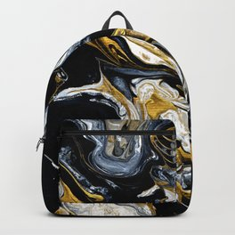 Black Gold & White Abstract II Backpack