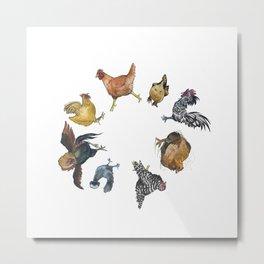 Chicken Circle Metal Print