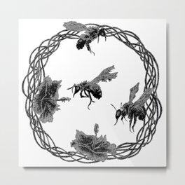 Hibiscus and Bees (frozen) 01 Metal Print