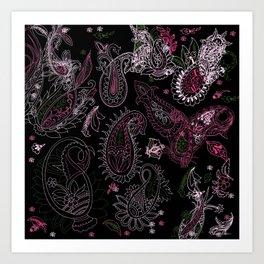 Pink Roses in Anzures 2 Paisley 2 Art Print