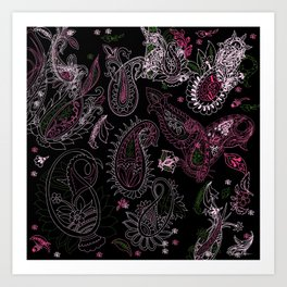Pink Roses in Anzures 2 Paisley 2 Art Print