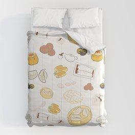 Dim Sum Pattern on White Background Comforters