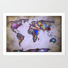 Stars world map. Space. Art Print