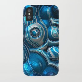 Macro 3D Blue Reflections iPhone Case