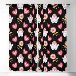 Copy of Lovely cute adorable baby penguins with flapping wings, retro vintage red lollipops Blackout Curtain