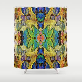 Colorful  Nature Wood Pattern Psychedelic Art Shower Curtain
