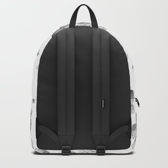Cactus Rose Garden Black and White Backpack