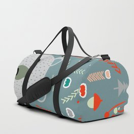 Winter pattern with baby bear Duffle Bag