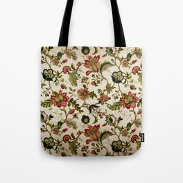 Red Green Jacobean Floral Embroidery Pattern Tote Bag