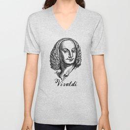 Antonio Vivaldi portrait Unisex V-Neck