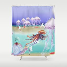 Sea Life Fairy Island,Childrens illustration Shower Curtain