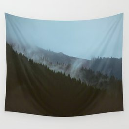 Mountains Landscape Pine Trees Foggy Hills Wall Tapestry