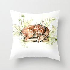 Sleeping Deer Throw Pillow