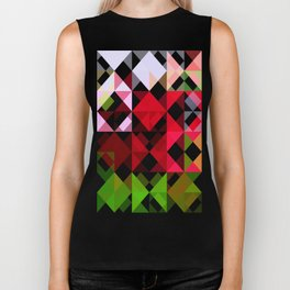 Red Rose Edges Abstract Triangles 1 Biker Tank