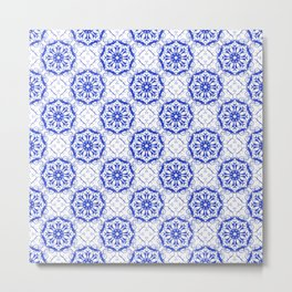 Baroque style floral blue pattern. Metal Print