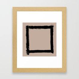 Square Strokes Black on Nude Framed Art Print