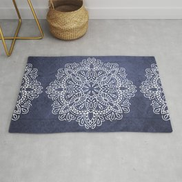 Mandala Vintage White on Ocean Fog Gray Rug