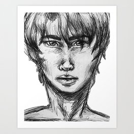 sketch of man Art Print