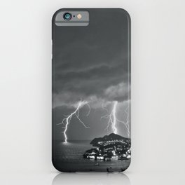 Lighting Storm on the coast, Adriatic Ocean black and white photograph iPhone Case