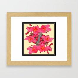 BLACK-PINK FLOWER BLOSSOMS YELLOW SPRING ART Framed Art Print