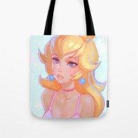 princess peach Tote Bags featuring Princess Peach by Ilya Kuvshinov